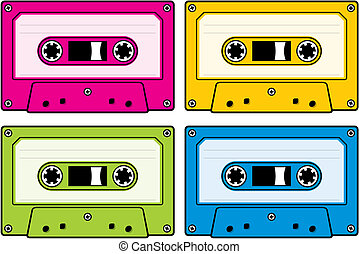Audio cassette icon in four colored versions
