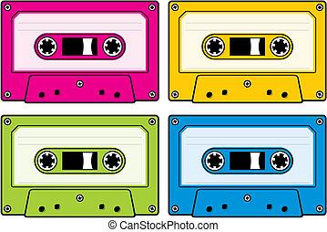 Audio cassettes - Audio cassette icon in four colored...