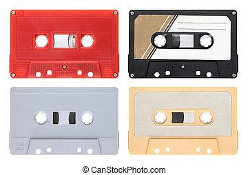 Audio cassettes isolated on background