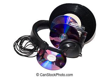 cassettes, vinyl records, CD and Headphones - audio...