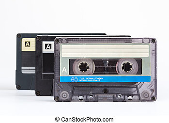 audio cassettes, white background