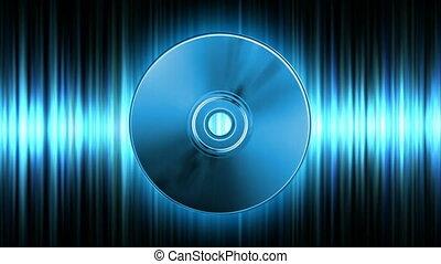 Audio CD - Rotating blue CD over audio waveform (seamless...