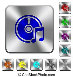 Audio CD rounded square steel buttons