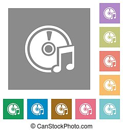 Audio CD square flat icons