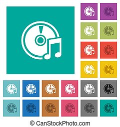Audio CD square flat multi colored icons