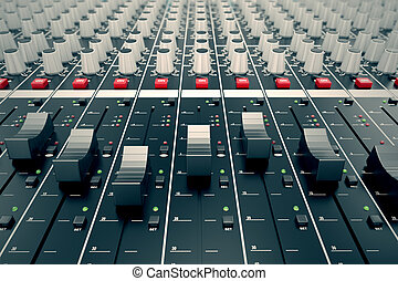Audio Console. - Closeup on a sliders of a mixing console....