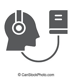 Audio Course glyph icon, e learning and education, audio...