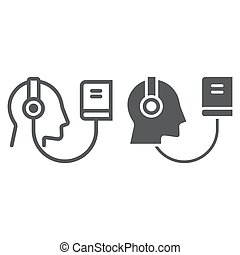 Audio Course line and glyph icon, e learning and education,...