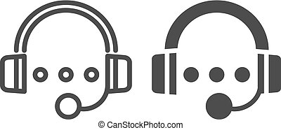 Audio course line and glyph icon. Headphones and play sign...