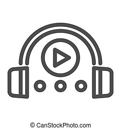 Audio course line icon. Headphones and play sign vector...
