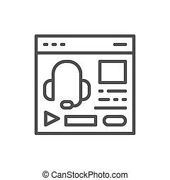 Audio course, podcast, education website, web page line...