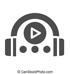 Audio course solid icon. Headphones and play sign vector...