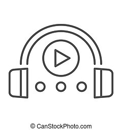 Audio course thin line icon. Headphones and play sign vector...