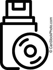 Audio data usb icon, outline style