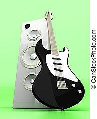 Audio Entertainment - 3D rendered Illustration. A guitar...