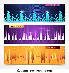 Audio Equalizer Banners Set