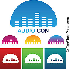 Audio equalizer icon - vector illustration of colorful audio...