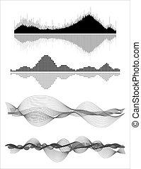 Audio equalizer - Vector music sound waves set. Audio...