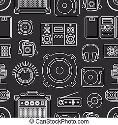 Audio equipment icons collection
