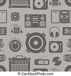 Audio equipment icons collection seamless pattern