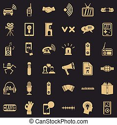 Audio equipment icons set, simple style