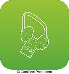 Audio guide icon green vector