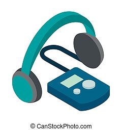 Audio guide icon, isometric 3d style