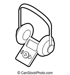 Audio guide icon, outline style