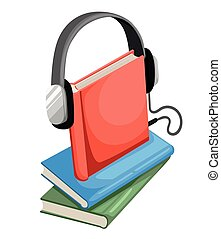 Audio guide or audio book icon Flat design style vector illustration.
