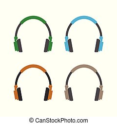 Audio headphones icon. Vector illustration, flat design.