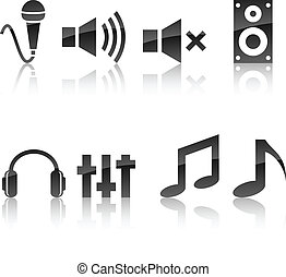 Audio icon set. - Audio icon collection. Vector illustration...