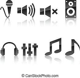 Audio icon set. - Audio icon collection. Vector illustration...