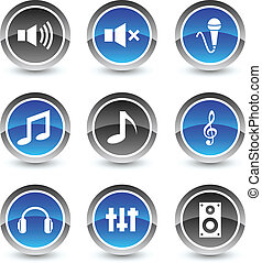 Audio icon set. Vector illustration.