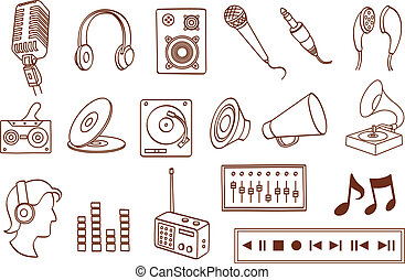 audio, icono, conjunto