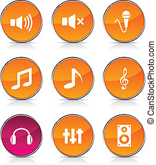 Audio glossy icons. Vector buttons.