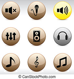 audio, icons.
