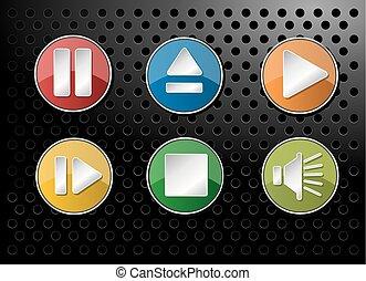 Audio icons Set on black background