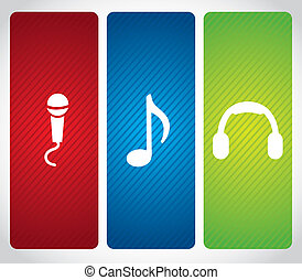 audio icons over bray background vector illustration