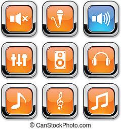 audio, icons.