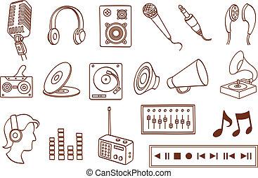 audio, ikon, sæt