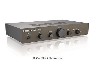 Audio integrated power amplifier (3d illustration).