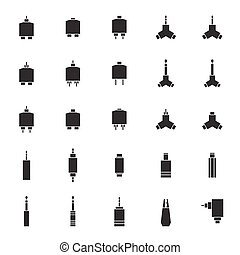 audio jack connector vector icon set