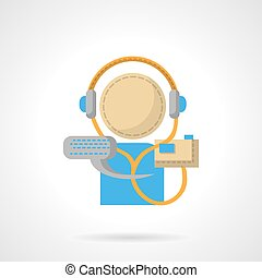 Audio lessons flat color vector icon - Conceptual sign of...
