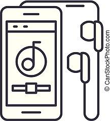 audio, lineair, illustratie, concept., symbool, speler, vector, lijn, meldingsbord, pictogram