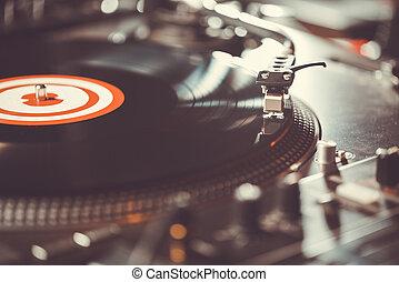 audio, música, vinilo, profesional, tocadiscos, plato giratorio