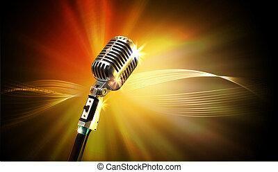 audio, micrófono, estilo retro