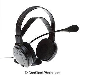 audio microphone headphones isolated