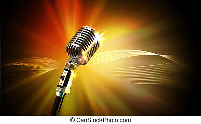 audio, mikrofon, retro mód