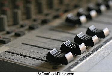 Macro shot of a proffesional audio mixer.