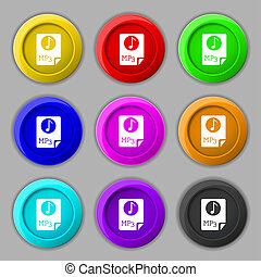 Audio, MP3 file icon sign. symbol on nine round colourful buttons.